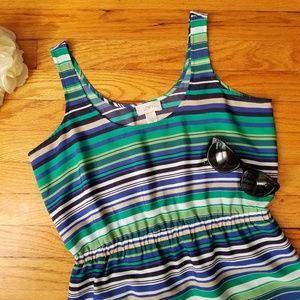 Ann Taylor Loft Stripe Sundress Navy Green 4P